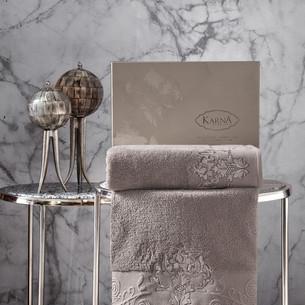 Подарочный набор полотенец для ванной 50х90, 70х140 Karna AROV хлопковая махра капучино