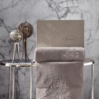 Подарочный набор полотенец для ванной 50*90, 70*140 Karna AROV хлопковая махра капучино