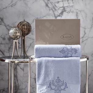 Подарочный набор полотенец для ванной 50х90, 70х140 Karna AROV хлопковая махра светло-голубой