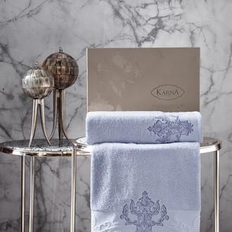 Подарочный набор полотенец для ванной 50*90, 70*140 Karna AROV хлопковая махра светло-голубой