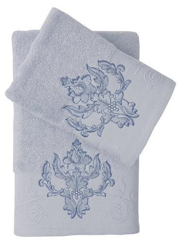 Подарочный набор полотенец для ванной 50х90, 70х140 Karna AROV хлопковая махра светло-голубой, фото, фотография