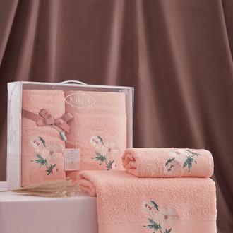 Подарочный набор полотенец для ванной 50х90, 70х140 Karna VALDI хлопковая махра абрикосовый
