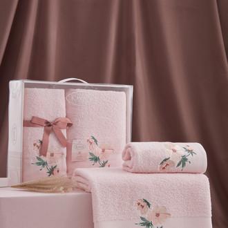 Подарочный набор полотенец для ванной 50*90, 70*140 Karna VALDI хлопковая махра розовый