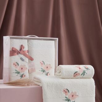 Подарочный набор полотенец для ванной 50*90, 70*140 Karna VALDI хлопковая махра кремовый