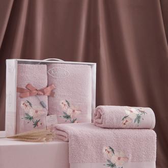 Подарочный набор полотенец для ванной 50*90, 70*140 Karna VALDI хлопковая махра светло-лавандовый