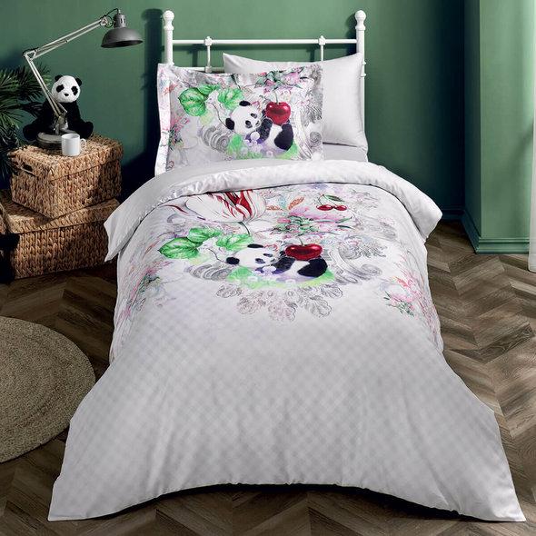 Детское постельное белье Tivolyo Home PANDA хлопковый сатин делюкс 1,5 спальный, фото, фотография