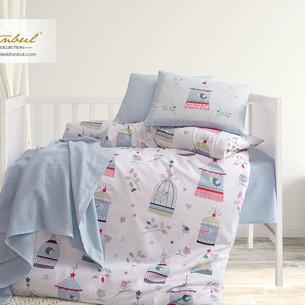 Постельное белье для новорожденных с пледом из велсофта Istanbul Home Collection BIRD HOUSE синий