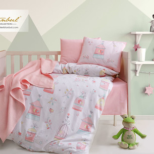 Постельное белье для новорожденных с пледом из велсофта Istanbul Home Collection BIRD HOUSE лососевый