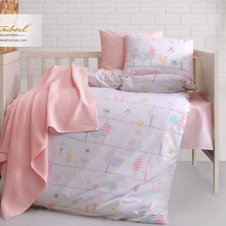 Постельное белье для новорожденных с пледом из велсофта Istanbul Home Collection BIRDLY розовый