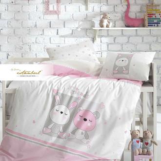 Постельное белье для новорожденных с пледом из велсофта Istanbul Home Collection FRIENDS розовый