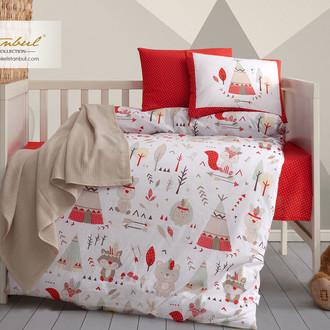 Постельное белье для новорожденных с пледом из велсофта Istanbul Home Collection JUNGLE красный