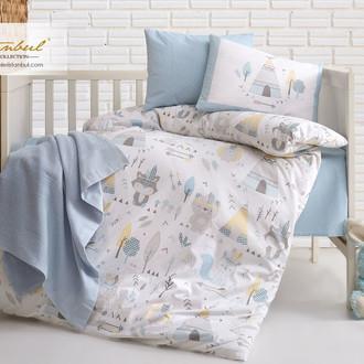 Постельное белье для новорожденных с пледом из велсофта Istanbul Home Collection JUNGLE синий