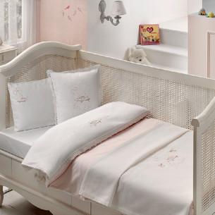 Постельное белье для новорожденных с пледом-пике Tivolyo Home HAPPY BEBE хлопковый сатин делюкс розовый