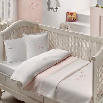 Комплект детского постельного белья для новорожденных с пледом Tivolyo Home HAPPY BEBE хлопковый сатин розовый