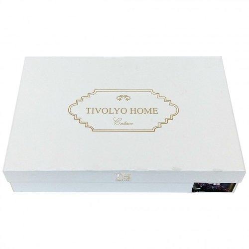 Постельное белье Tivolyo Home FAUSTA бамбуковый сатин-жаккард делюкс серый евро, фото, фотография