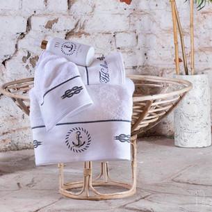 Подарочный набор полотенец для ванной 50х100, 75х150 Tivolyo Home ANCHOR хлопковая махра белый