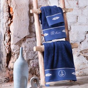 Подарочный набор полотенец для ванной 30х50, 50х100, 75х150 Tivolyo Home ANCHOR хлопковая махра синий