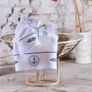 Подарочный набор полотенец для ванной 30х50, 50х100, 75х150 + спрей Tivolyo Home ANCHOR хлопковая махра белый