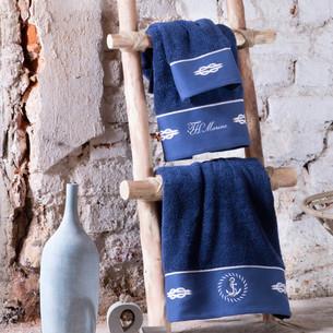 Подарочный набор полотенец для ванной 30х50, 50х100, 75х150 + спрей Tivolyo Home ANCHOR хлопковая махра синий