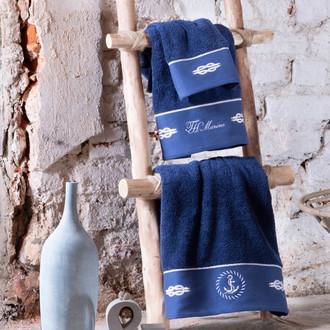 Подарочный набор полотенец для ванной 30*50, 50*100, 75*150 + спрей Tivolyo Home ANCHOR хлопковая махра синий