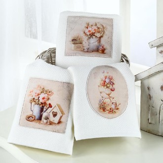 Подарочный набор кухонных полотенец Tivolyo Home BELLEROSE хлопковая вафля