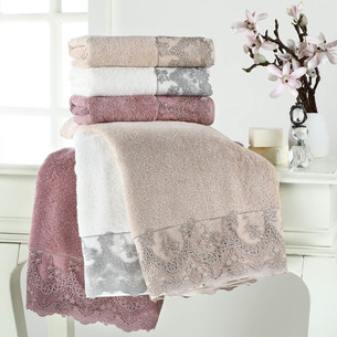 Полотенце для ванной Tivolyo Home REGINA хлопковая махра серый 75х150