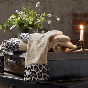 Полотенце для ванной Tivolyo Home LEOPARD хлопковая махра горчичный 75х150