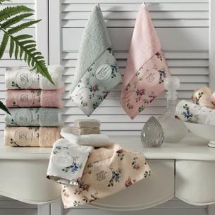 Подарочный набор полотенец-салфеток 30х50(3) Tivolyo Home ROSELAND LUX хлопковая махра ментоловый