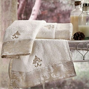 Полотенце для ванной Tivolyo Home VITALY хлопковая махра кремовый 75х150