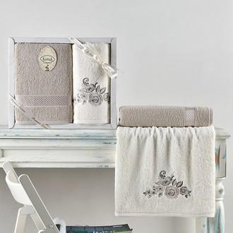 Подарочный набор полотенец для ванной 50*90, 70*140 Karna ELVIN хлопковая махра стоун