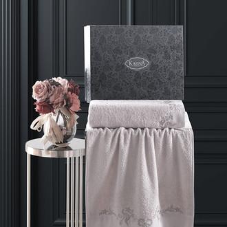 Подарочный набор полотенец для ванной 50х90, 70х140 Karna VALOR хлопковая махра бежевый