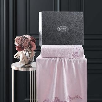 Подарочный набор полотенец для ванной 50х90, 70х140 Karna VALOR хлопковая махра пудра