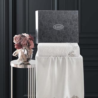 Подарочный набор полотенец для ванной 50х90, 70х140 Karna VALOR хлопковая махра кремовый