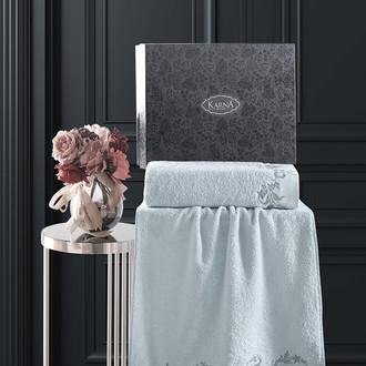 Подарочный набор полотенец для ванной 50х90, 70х140 Karna VALOR хлопковая махра ментол