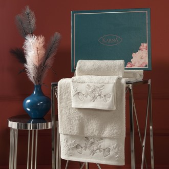 Подарочный набор полотенец для ванной 50х90, 70х140 Karna MIRA хлопковая махра натурал