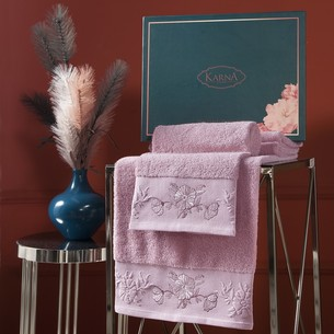 Подарочный набор полотенец для ванной 50х90, 70х140 Karna MIRA хлопковая махра грязно-розовый