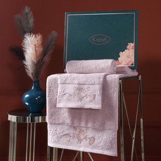 Подарочный набор полотенец для ванной 50х90, 70х140 Karna MIRA хлопковая махра пудра