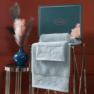 Подарочный набор полотенец для ванной 50х90, 70х140 Karna MIRA хлопковая махра зелёный