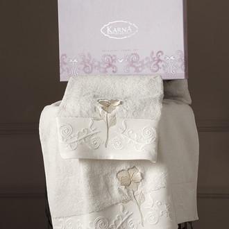 Подарочный набор полотенец для ванной 50х90, 70х140 Karna LILYAN хлопковая махра кремовый