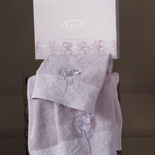 Подарочный набор полотенец для ванной 50х90, 70х140 Karna LILYAN хлопковая махра светло-лавандовый