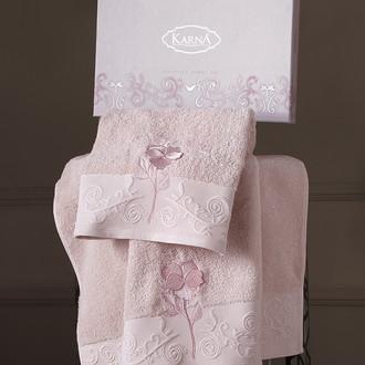 Подарочный набор полотенец для ванной 50х90, 70х140 Karna LILYAN хлопковая махра шампань