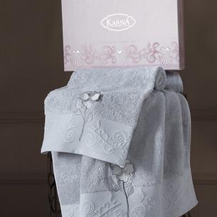 Подарочный набор полотенец для ванной 50х90, 70х140 Karna LILYAN хлопковая махра серый