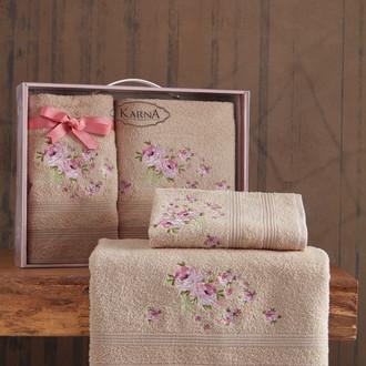 Подарочный набор полотенец для ванной 50х90, 70х140 Karna MALDEN хлопковая махра бежевый