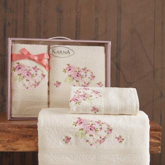 Подарочный набор полотенец для ванной 50х90, 70х140 Karna MALDEN хлопковая махра кремовый