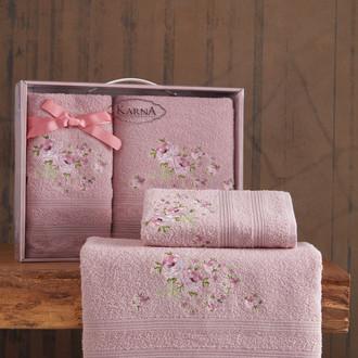 Подарочный набор полотенец для ванной 50х90, 70х140 Karna MALDEN хлопковая махра светло-лавандовый