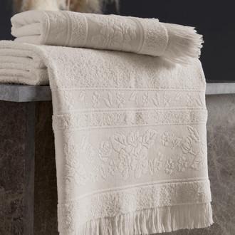 Полотенце для ванной Karna LORA хлопковая махра кремовый