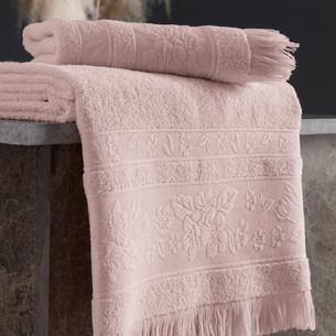 Полотенце для ванной Karna LORA хлопковая махра пудра 50х90