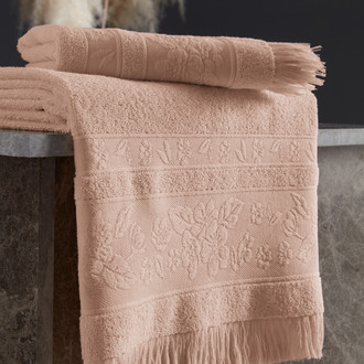 Полотенце для ванной Karna LORA хлопковая махра абрикосовый