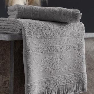 Полотенце для ванной Karna LORA хлопковая махра светло-серый