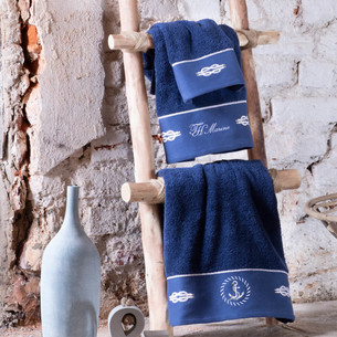 Полотенце для ванной Tivolyo Home ANCHOR хлопковая махра синий 75х150